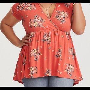 TORRID 3X Orange Floral Top